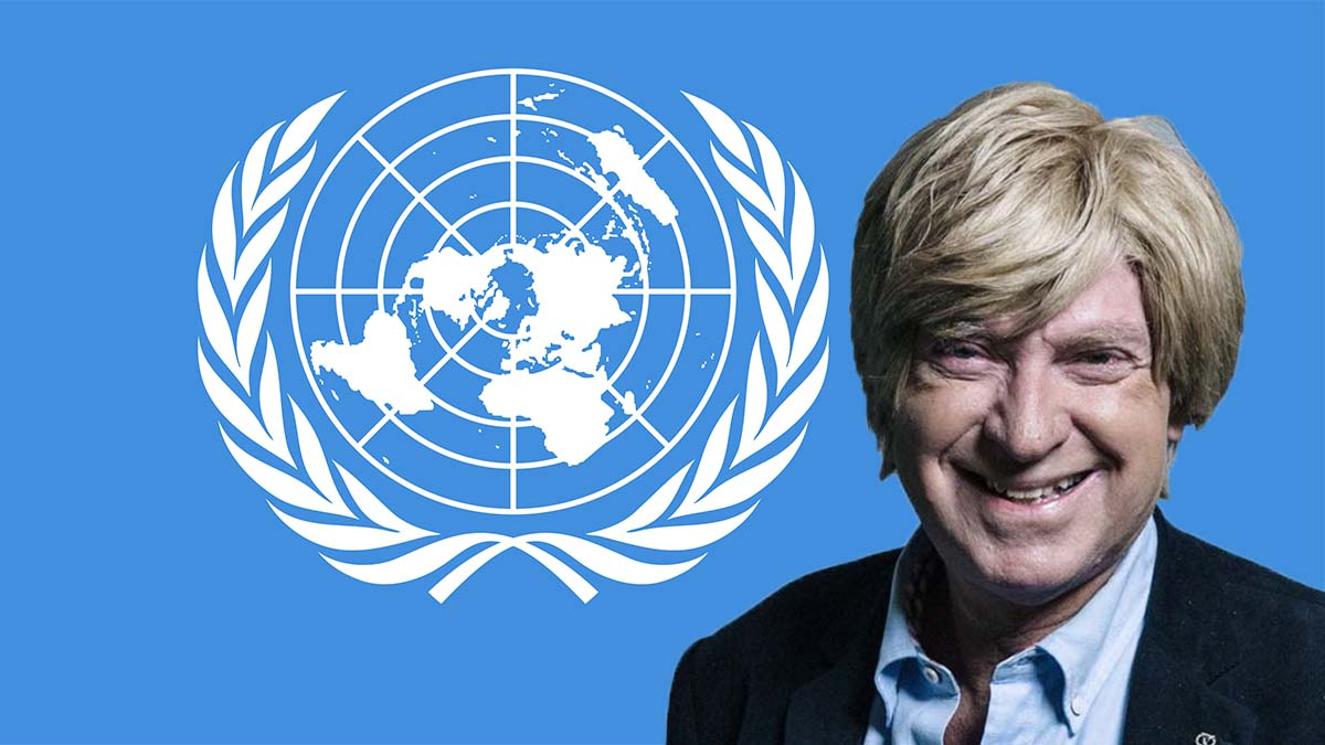 Michael Fabricant with the UN flag