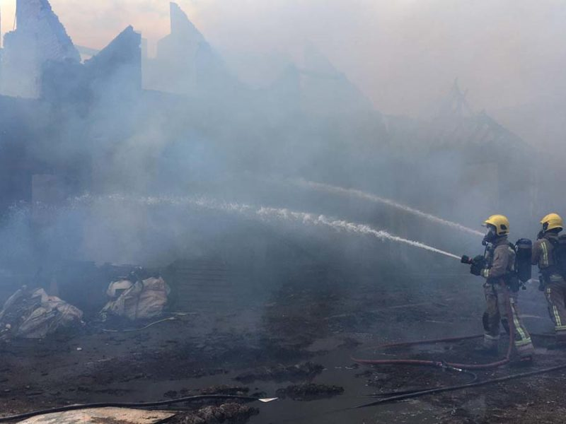 Firefighters tackling a recent blaze in Needwood caused by a nearby bonfire. Picture: Staffordshire Fire and Rescue Service