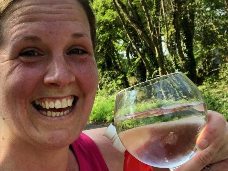 Fliss Davies enjoying a well-earned drink after her Fradley London Marathon