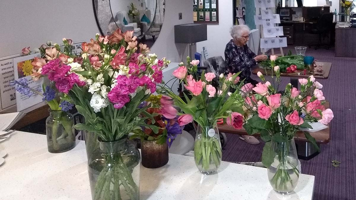 Some of the flowers donated by Lidl to The Spires care home