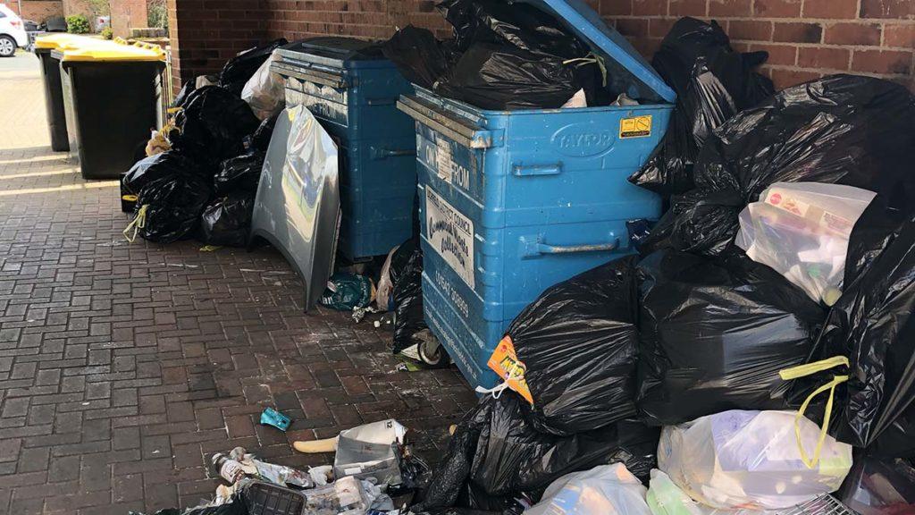 Piles of rubbish outside Armada House