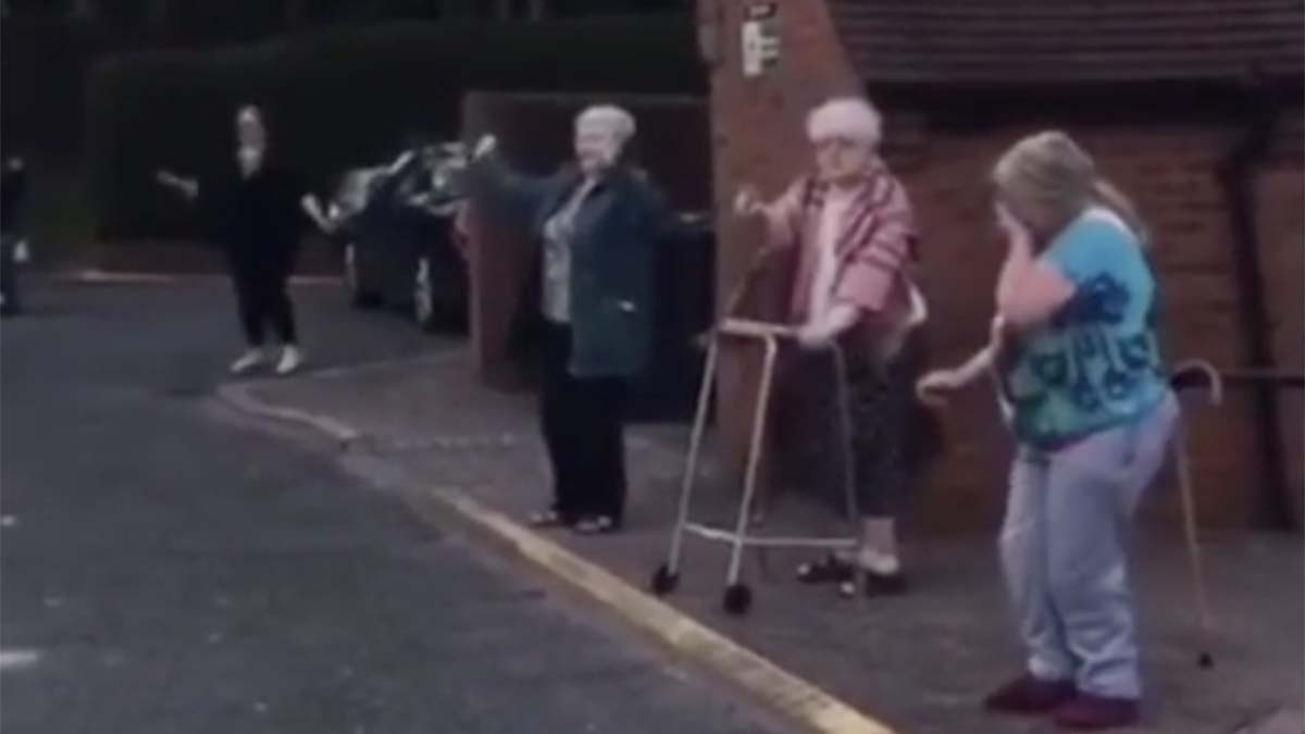 Residents of Richardson Court dancing