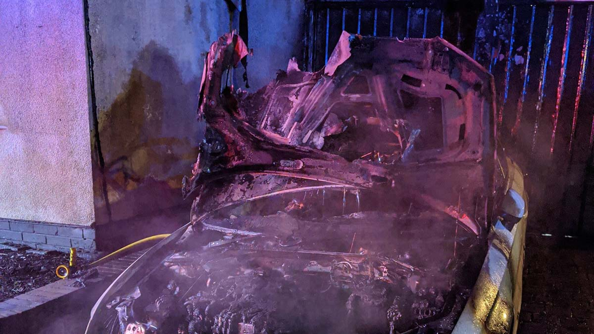 Damage caused by the car fire in Stonnall