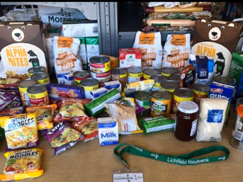 Some of the items donated to Lichfield Food Bank by inmates at HMP and YOI Swinfen Hall