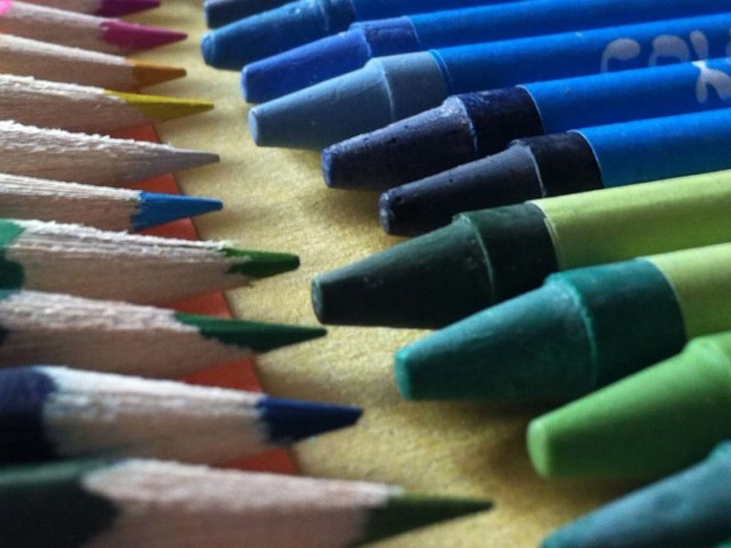 Colouring pencils and crayons