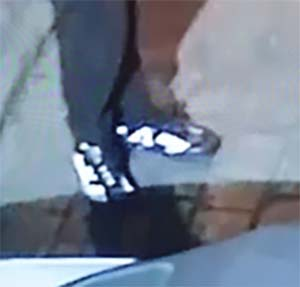 Police also released an image of distinctive footwear worn by the man caught on CCTV