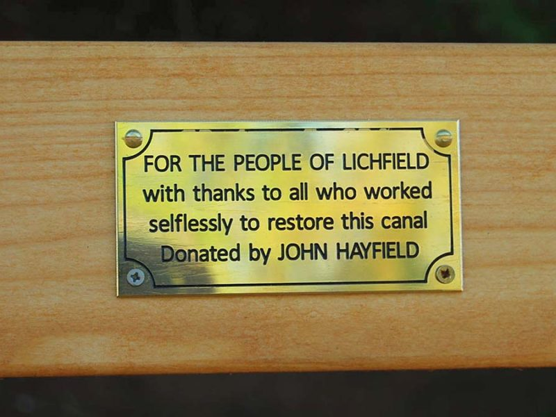 The plaque on the bench donated by John Hayfield