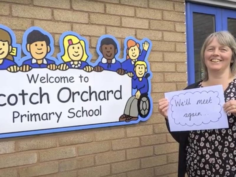 Staff from Scotch Orchard Primary School in the video