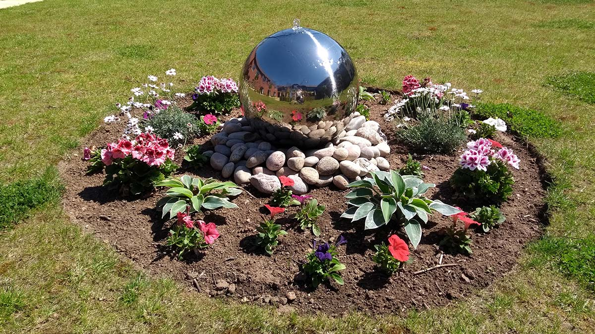 A water feature in the gardens at The Spires care home