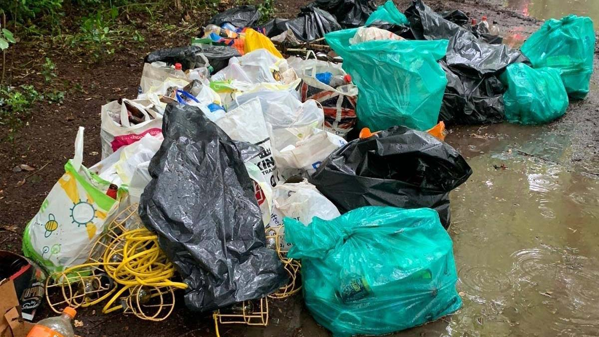 Bags of rubbish collected by volunteers
