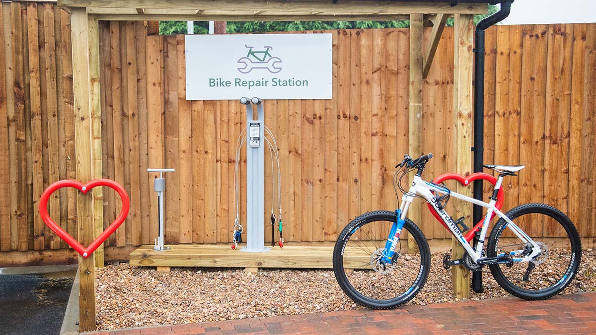 One of the bike repair stations being introduced by Central England Co-op