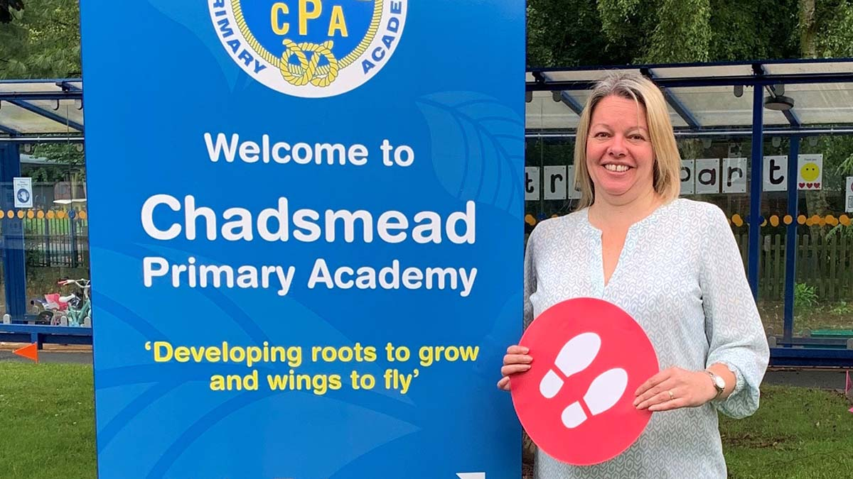 Gemma Grainger from Chadsmead Primary Academy with one of the floor stickers