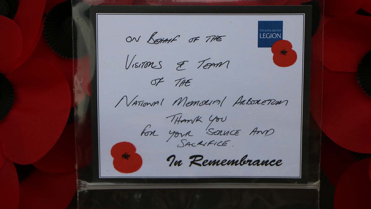 The message on the wreath at the Normandy Campaign Memorial. Picture: National Memorial Arboretum