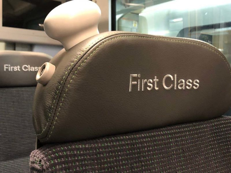 First class seats on a London Northwestern Railway service