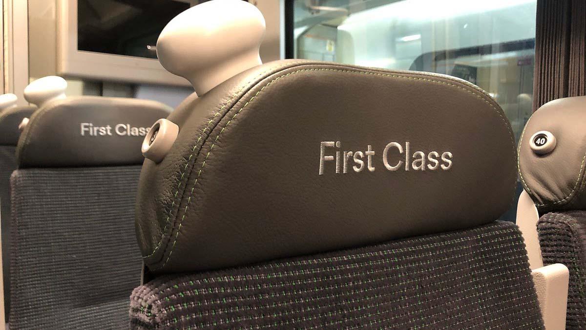 First class seats on a London Northwestern Railway service