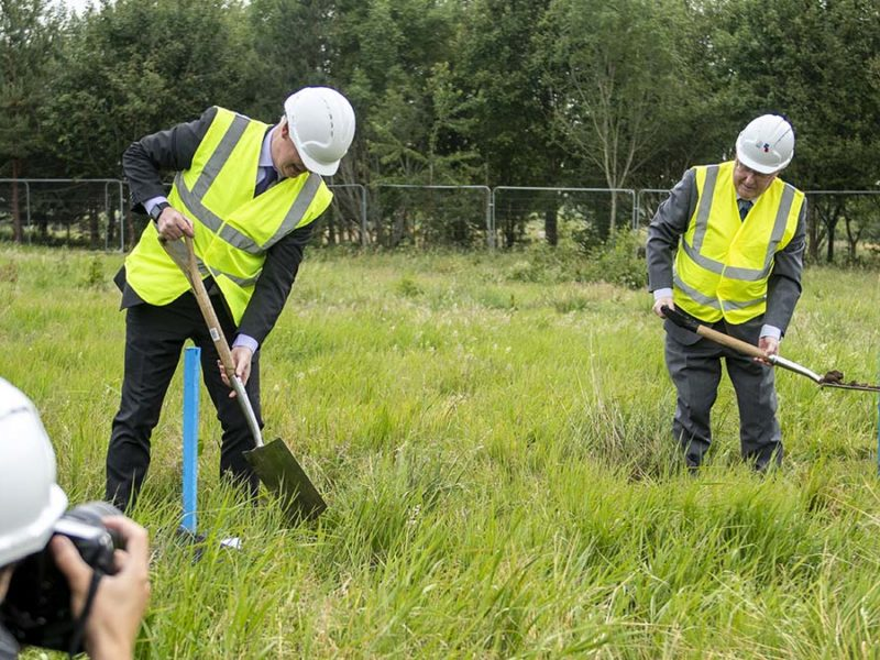 Paul Bone and Bryn Hughes carrying out the groundbreaking ceremony for the new UK Police Memorial