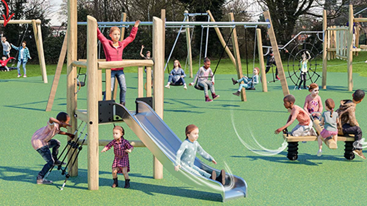 An artist's impression of the play area at Stowe Fields