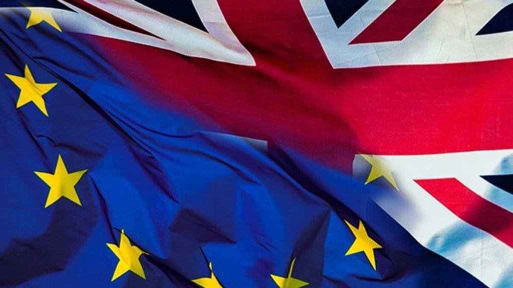 An EU flag and a UK flag
