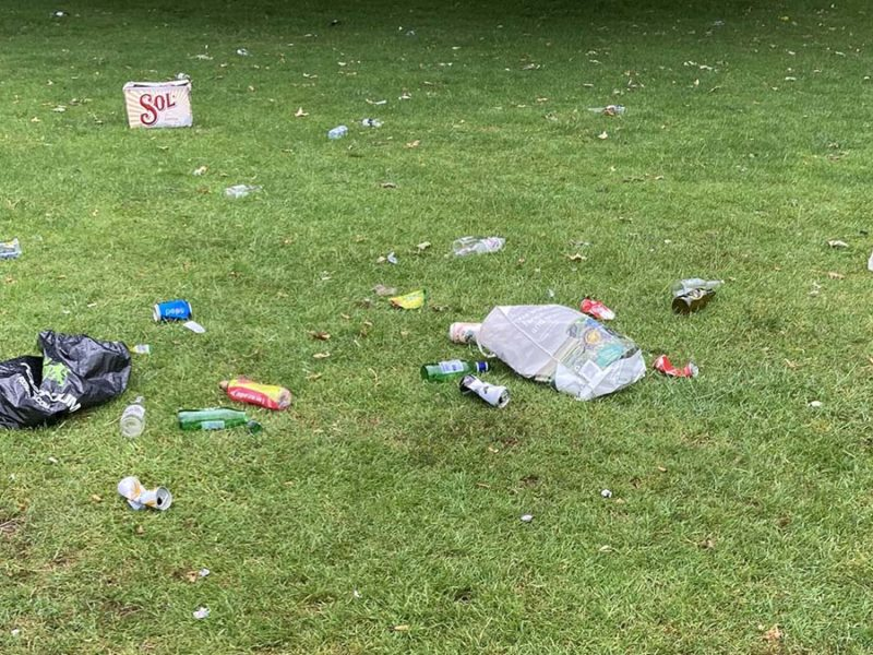 Some of the litter left behind in Beacon Park
