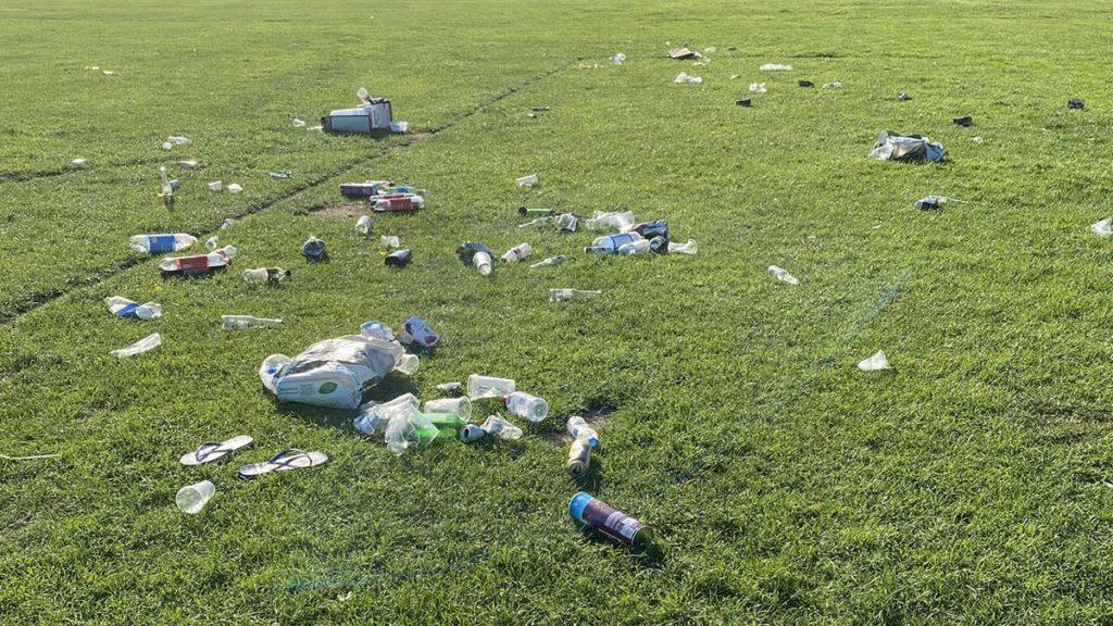 Rubbish left behind in Beacon Park