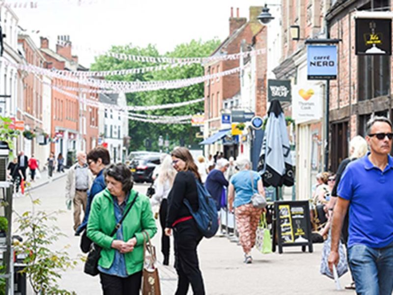 Shoppers in Lichfield city centre before the coronavirus crisis