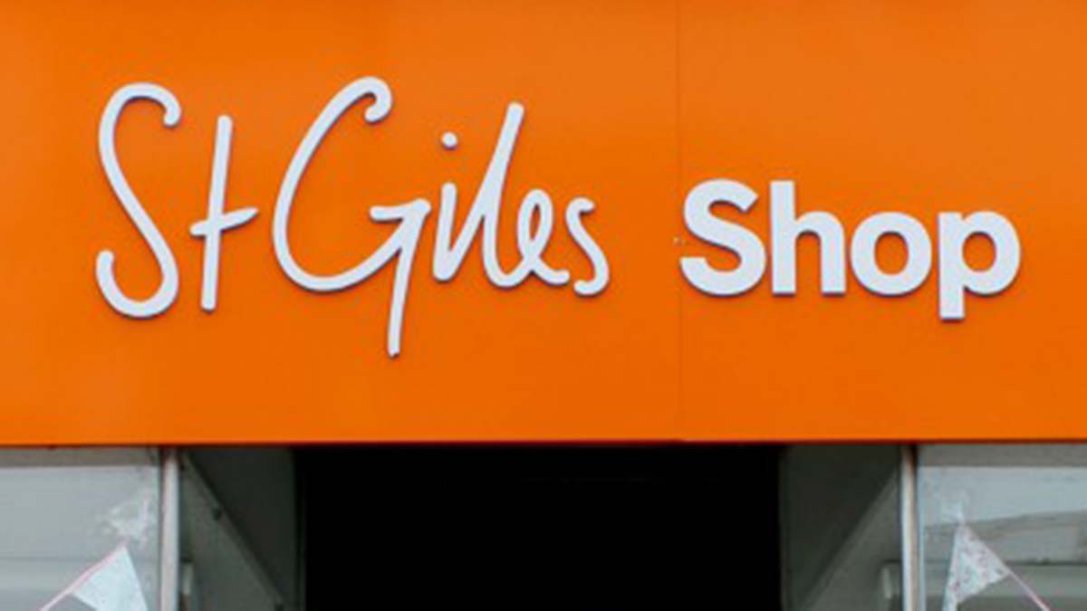 St Giles Hospice shop sign