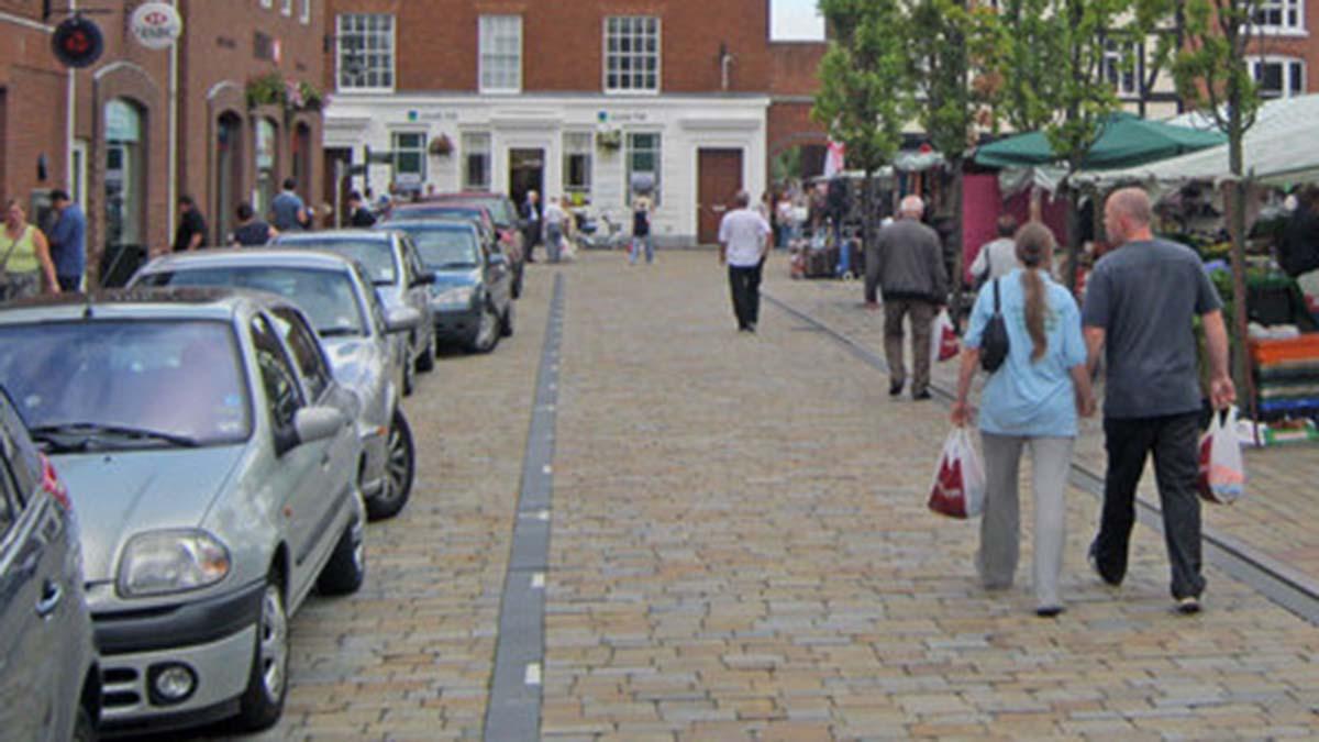 Cars parked on Market Street in Lichfield