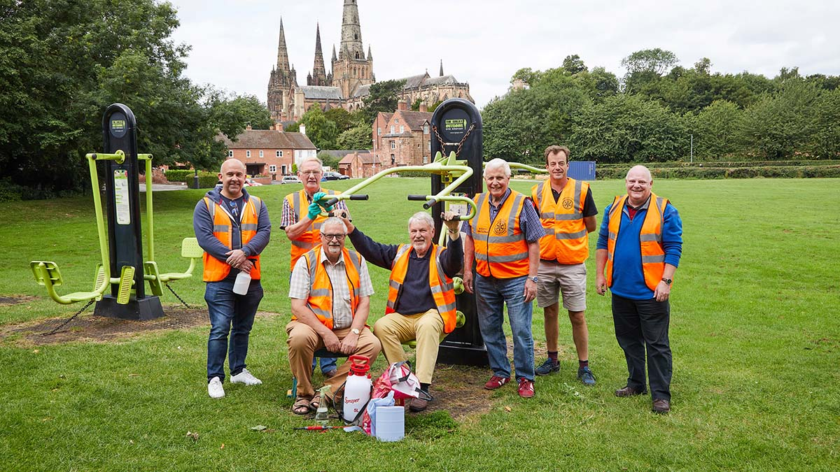 The Lichfield St Chad Rotary Club volunteers cleaning the outdoor gym equipment. Picture: Robert Yardley