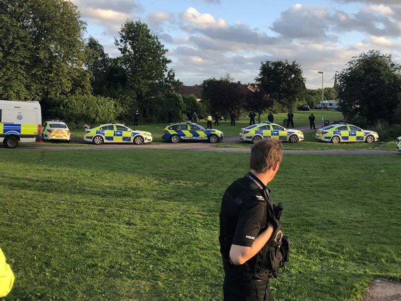 Police at Netherstowe where travellers have been camped. Picture: Doug Pullen