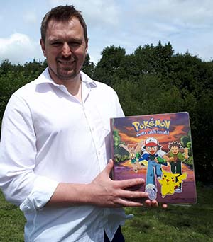 Nigel Brookes with the Pokemon cards