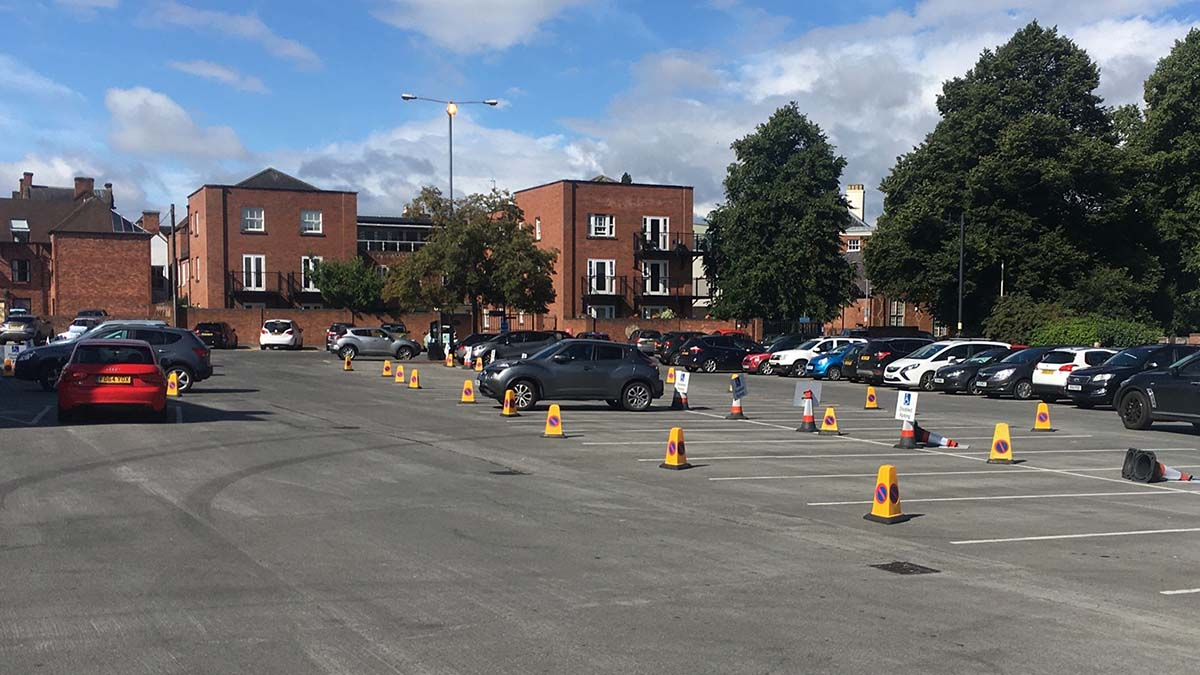 The temporary disabled bays in the Bird Street car park