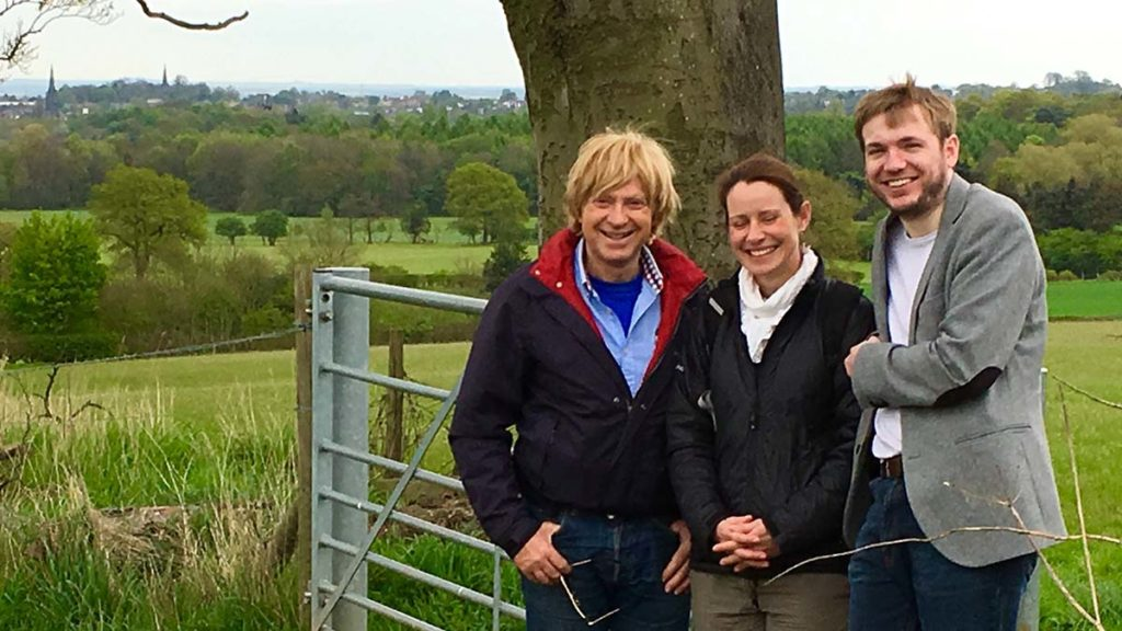 Michael Fabricant with officials from the Woodland Trust at Pipe Hill Farm
