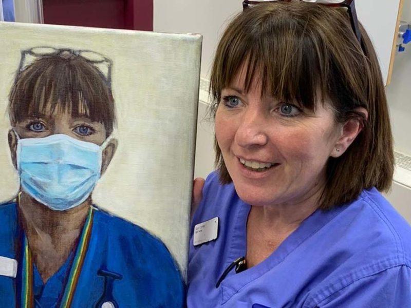Sue Corley with her portrait