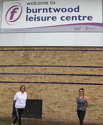 Gaynor Dawson and Amy Carnall from Lichfield Swimming Club at Burntwood Leisure Centre