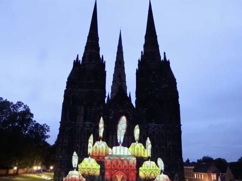 Lichfield Cathedral illuminated