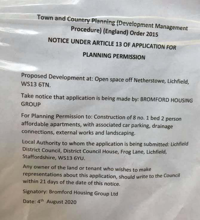 A planning notice at the site at Netherstowe