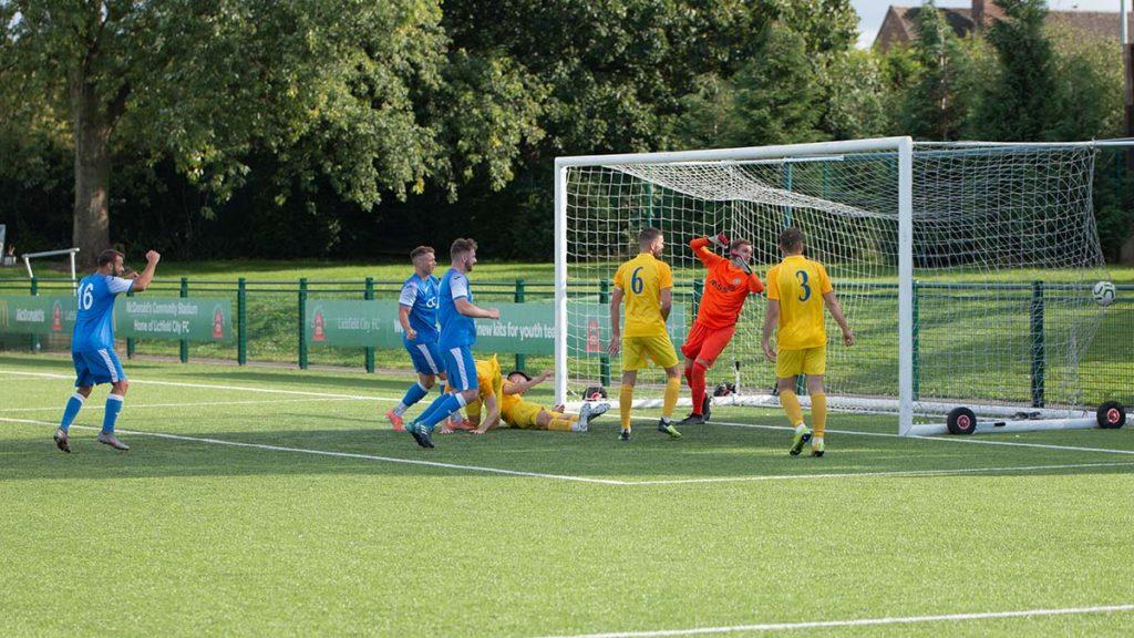 Lichfield score a consolation goal against Kirby Muxloe. Picture: Nigel Lord