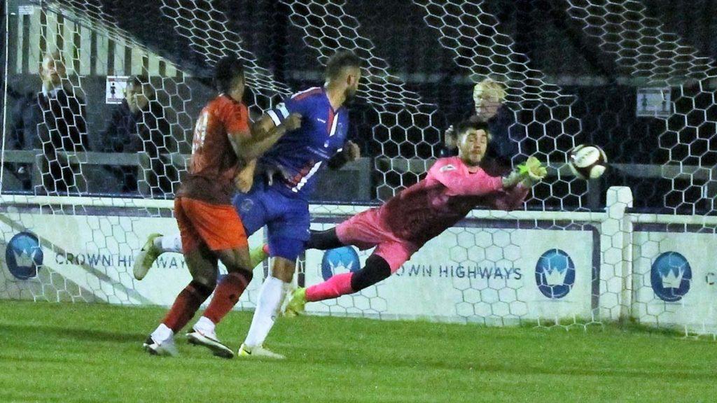 Chasetown keeper Callum Hayward saves. Picture: Dave Birt