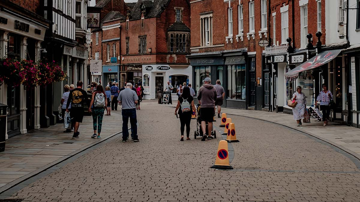 Parking bays coned off on Tamworth Street in Lichfield city centre