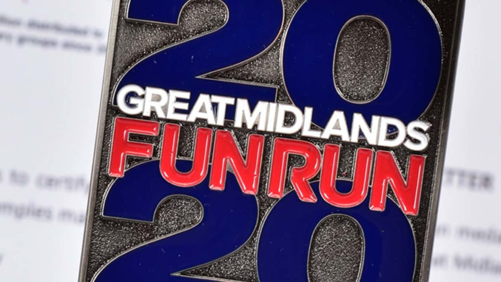 The medal for the 2020 Great Midlands Fun Run