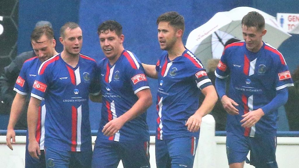 Chasetown players congratulate Joey Butlin. Picture: Dave Birt