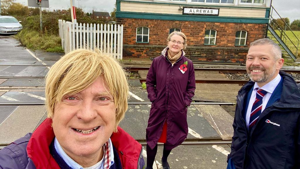Michael Fabricant, Philippa Rawlinson and Malcolm Holmes next to the railway line near Alrewas