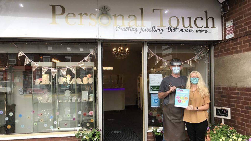 Kevin and Helen Lewis outside Personal Touch Jewellery