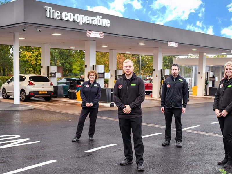Staff outside the revamped petrol station