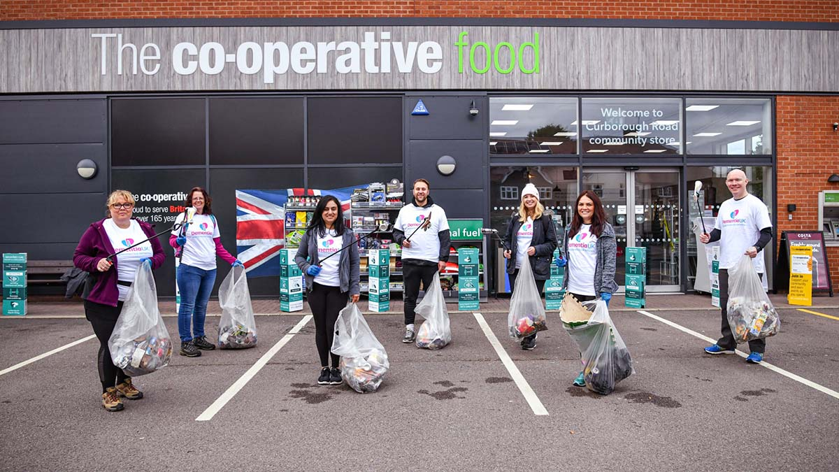The litter pick fundraising team outside the Curborough Road store