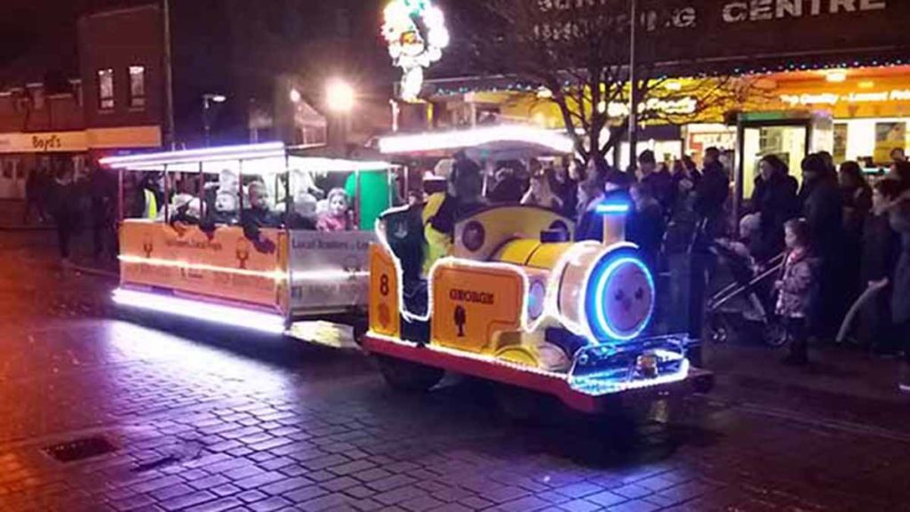 The Christmas train operating previously at Burntwood lights switch on event