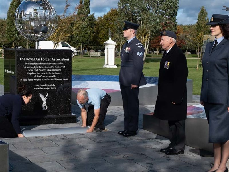 The time capsule being buried at the National Memorial Arboretum