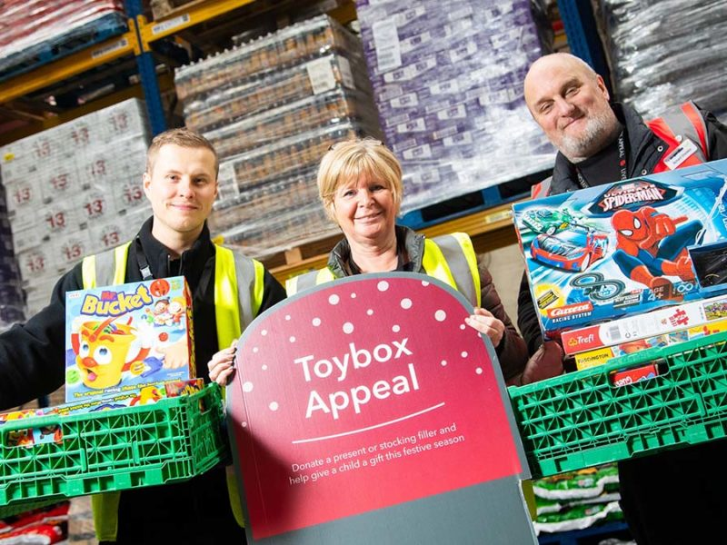 Central England Co-op staff with some of the toys donated to the 2019 appeal
