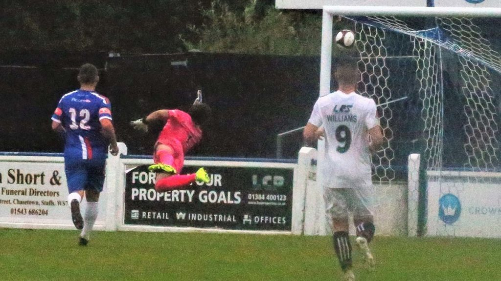 James Hardy equalises for Telford against Chasetown. Picture: Dave Birt