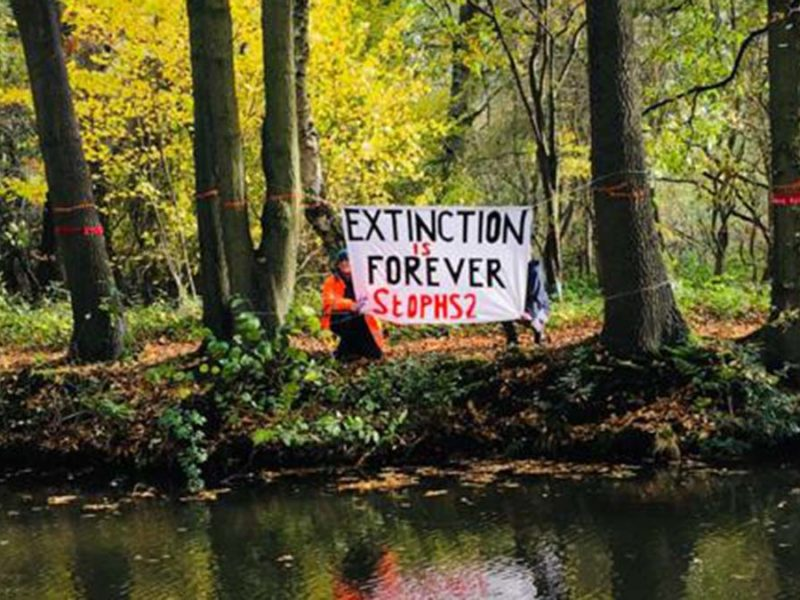 Campaigners in woodland at Fradley